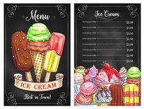 Vector el menú del precio para el café de los postres del helado libre illustration