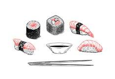 Vector el menú del sushi del diseño - dé el ejemplo exhausto Imagen de archivo