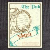 Vector el menú dibujado mano de la cerveza del vintage con la cinta Foto de archivo libre de regalías