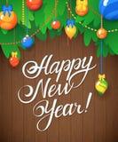 Vector el mensaje y los objetos de la Feliz Año Nuevo en el fondo de madera Imágenes de archivo libres de regalías