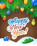 Vector el mensaje y los objetos de la Feliz Año Nuevo en el fondo de madera Imagenes de archivo