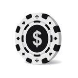 Vector el microprocesador negro del casino con la muestra de dólar aislada en el fondo blanco Imagenes de archivo