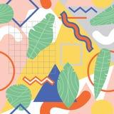Vector el modelo abstracto inconsútil colorido con las hojas tropicales ilustración del vector