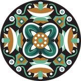 Vector el modelo circular tradicional oriental del pez de colores de la flor de loto ilustración del vector