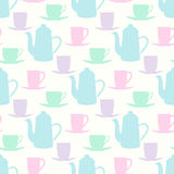 Vector el modelo con las teteras, las tazas del té y las tazas de café Imagen de archivo