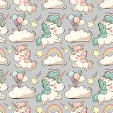 Vector el modelo con unicornio, las nubes y el arco iris imagen de archivo