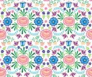 Vector el modelo decorativo inconsútil del bordado de flores, ornamento para la decoración de la materia textil Fondo hecho a man Imagen de archivo libre de regalías