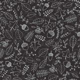 Vector el modelo dibujado mano con contornos de los elementos del otoño: follaje, bayas y bellotas en el fondo gris Imitación de  Fotos de archivo libres de regalías