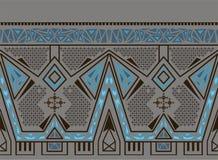 Vector el modelo inconsútil étnico con el ornamento tradicional indio americano en colores azules stock de ilustración