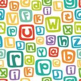 Vector el modelo inconsútil - alfabeto inglés en cuadrados coloridos Fotos de archivo