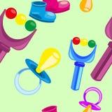 Vector el modelo inconsútil brillante con los accesorios y los juguetes de los niños Imagen de archivo libre de regalías