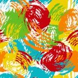 Vector el modelo inconsútil colorido con los movimientos y los puntos del cepillo Color amarillo-naranja azulverde en el fondo bl Fotografía de archivo