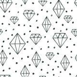 Vector el modelo inconsútil con el cryst dibujado mano del diamante de la acuarela Imagen de archivo libre de regalías