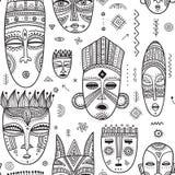 Vector el modelo inconsútil con el decorat tribal étnico africano de las máscaras stock de ilustración