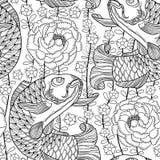 Vector el modelo inconsútil con la carpa y el crisantemo del koi del negro del esquema o la dalia en el fondo blanco Pescados ado stock de ilustración
