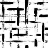 Vector el modelo inconsútil con la cruz y los movimientos del cepillo Color negro en el fondo blanco Textura pintada a mano del g Fotografía de archivo