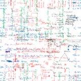 Vector el modelo inconsútil con la mano real escrita el texto latino en color en el Libro Blanco Imagen de archivo
