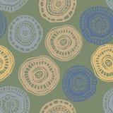 Vector el modelo inconsútil con las flores del aborigen en verde Imagenes de archivo