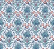 Vector el modelo inconsútil con las flores y las hojas de palma tropicales Fondo tropical para el diseño brillante de la tela stock de ilustración