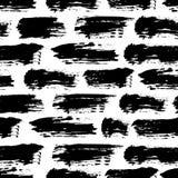 Vector el modelo inconsútil con las rayas y los movimientos del cepillo Color negro en el fondo blanco Textura pintada a mano del Foto de archivo libre de regalías
