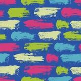 Vector el modelo inconsútil con las rayas y los movimientos del cepillo Color rosado verde en fondo azul Textura pintada a mano d Imagen de archivo libre de regalías