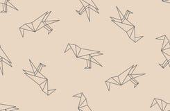 Vector el modelo inconsútil con las siluetas lineares de los pájaros del cuervo del negro japonés de la papiroflexia Fotografía de archivo