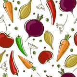 Vector el modelo inconsútil con las verduras en el fondo blanco ilustración del vector