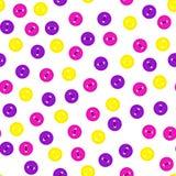 Vector el modelo inconsútil con los botones magentas violetas, amarillos y de la rosa coloridos del color en el fondo blanco Para Fotografía de archivo