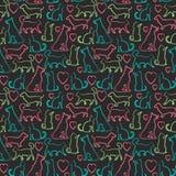 Vector el modelo inconsútil con los gatos y los perros encendido Imagen de archivo libre de regalías