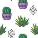 Vector el modelo inconsútil con los houseplants del color y los ornamen aztecas Imagen de archivo libre de regalías