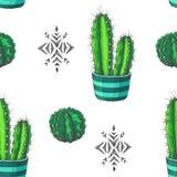 Vector el modelo inconsútil con los houseplants del color y los ornamen aztecas Foto de archivo libre de regalías