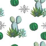 Vector el modelo inconsútil con los houseplants del color y los ornamen aztecas Imágenes de archivo libres de regalías