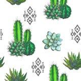 Vector el modelo inconsútil con los houseplants del color y los ornamen aztecas Imagen de archivo