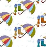 Vector el modelo inconsútil con los iconos del otoño multicolores, llueva, las hojas, paraguas, piscinas, gumboots en el fondo li Fotografía de archivo