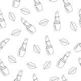 Vector el modelo inconsútil con los labios y el lápiz labial suculentos brillantes libre illustration