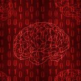 VECTOR el modelo inconsútil con los números descendentes y el cerebro, rojos Imagen de archivo