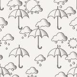 Vector el modelo inconsútil con los paraguas en la lluvia Imagen de archivo libre de regalías