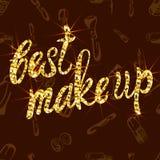Vector el modelo INCONSÚTIL con los productos cosméticos del garabato con las letras: el mejor del ` compone el `, marrón Foto de archivo