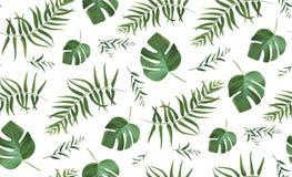 Vector el modelo inconsútil con el PA tropical del bosque del estilo de la acuarela ilustración del vector