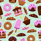 Vector el modelo inconsútil de dulces en el estilo de los garabatos Imagen de archivo libre de regalías