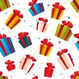 Vector el modelo inconsútil de la Navidad con el sistema de cajas del presente y de regalo aisladas en el fondo blanco Imágenes de archivo libres de regalías