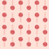 Vector el modelo inconsútil de la piruleta roja en el fondo rosado Fotografía de archivo libre de regalías