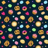 Vector el modelo inconsútil de los dulces y de los dulces con los pasteles, los caramelos, los pretzeles y el mollete Fotos de archivo libres de regalías