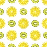 Vector el modelo inconsútil de rebanadas del limón y del kiwi citrus ilustración del vector