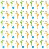 Vector el modelo inconsútil del ejemplo de muchachas en anaranjado y verde con un niño en sus brazos y bolas azules y marrones en Imagenes de archivo