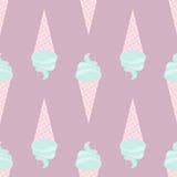 Vector el modelo inconsútil del helado en los colores delicados, blandos, rosa, turquesa, violeta, verde Fotografía de archivo libre de regalías
