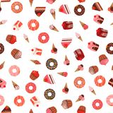 Vector el modelo inconsútil del postre de los dulces en el fondo blanco libre illustration