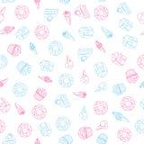 Vector el modelo inconsútil del postre de los dulces en el fondo blanco ilustración del vector