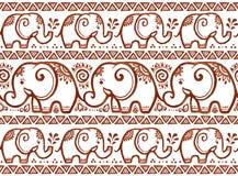 Vector el modelo inconsútil del vector étnico de los elefantes en estilo del mehndi Fotos de archivo
