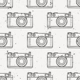 Vector el modelo inconsútil del vintage blanco y negro del grunge con las cámaras retras de la foto Foto de archivo